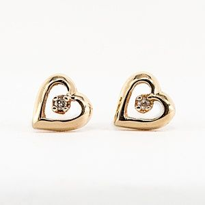 Vintage 14K CZ Heart Stud Earrings